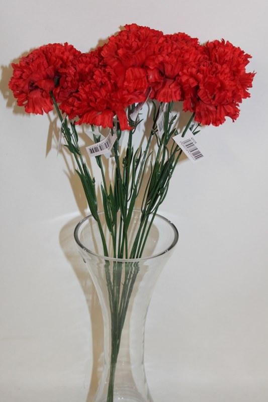 Silk Red carnations x 12-46cm