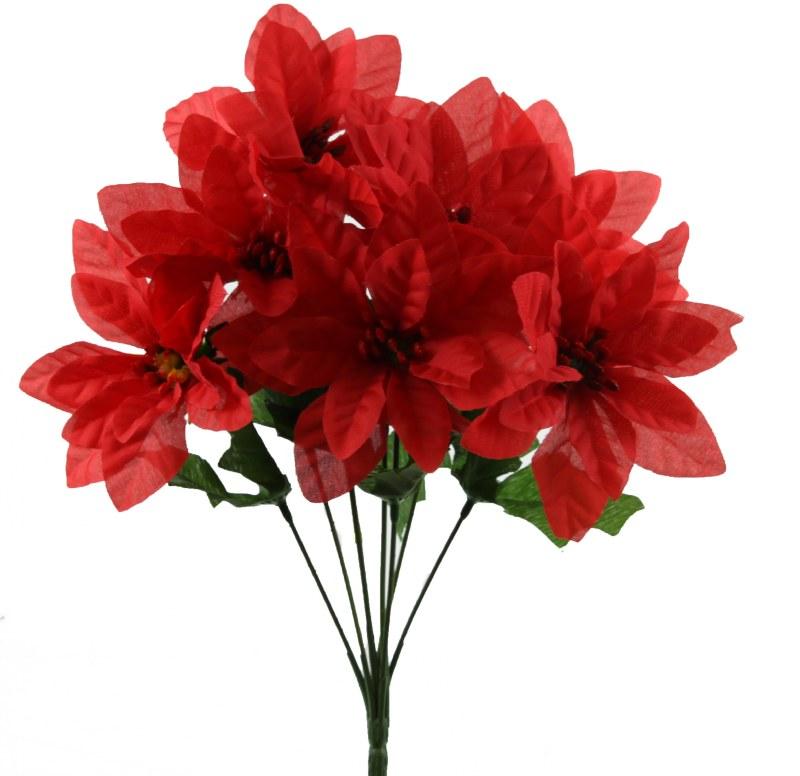 Red silk Poinsettia flower bundle x 7 stems 33cm
