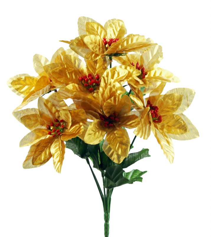 Metallic gold silk Poinsettia flower bundle x 7 stems 33cm