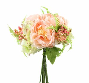Mixed Artificial Peony, Hydrangea & Berry Bunch x 10 Pale Peach & Green