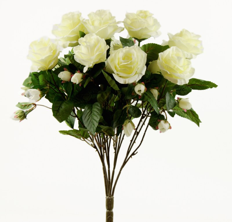 Ivory Artificial Rose Bunch x 15
