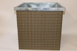 Aqua weave square zinc plant pot container, height-48cm
