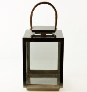 Metal Candle Lantern W/ Brown Handle 31.5cm
