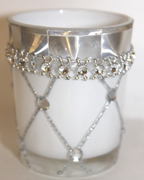 Glass tealight white 5.5cm x 6.5cm