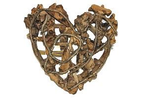 Driftwood wicker heart 30cm