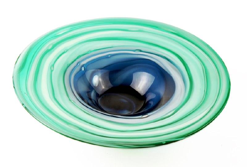 Hand Blown Glass Vase Green/Blue 27.5cm