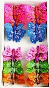 Small glitter butterfly mixed box x 24