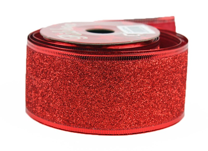 Red glitter Christmas wired edge ribbon 5cm x 10y