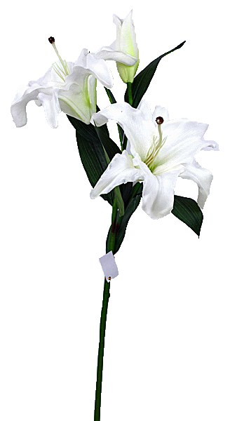 White artificial lily with 3 flowers-90cm