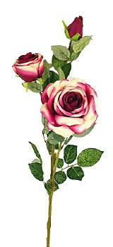 Pink and cream long stem artificial Rose with 3 heads 80cm