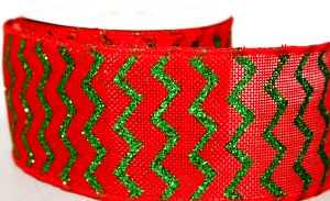 Red ribbon with wired edge 6cm x 10yards