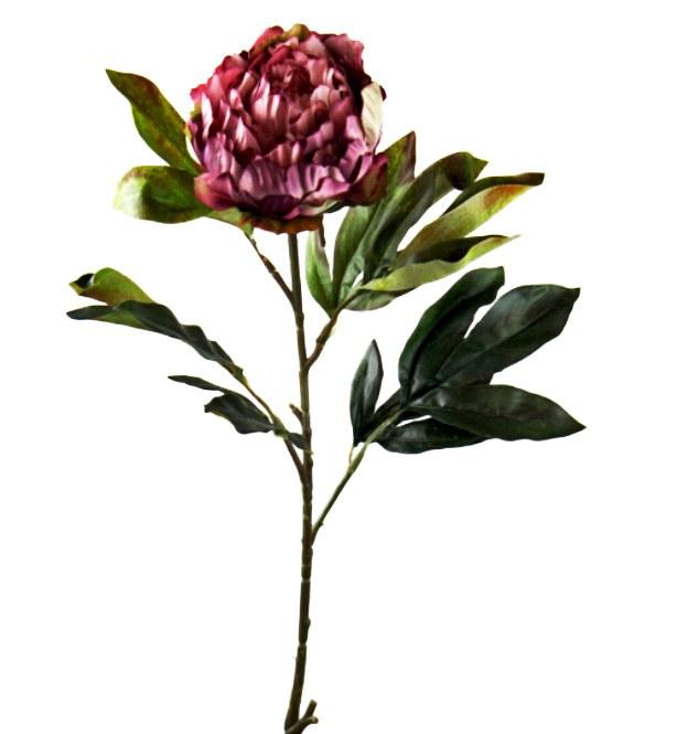Artificial Peony Flower Dark Pink/ Burgundy Long Stem