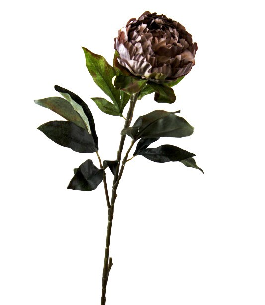 Artificial Peony Flower Long Stem Light Mauve/ Grey