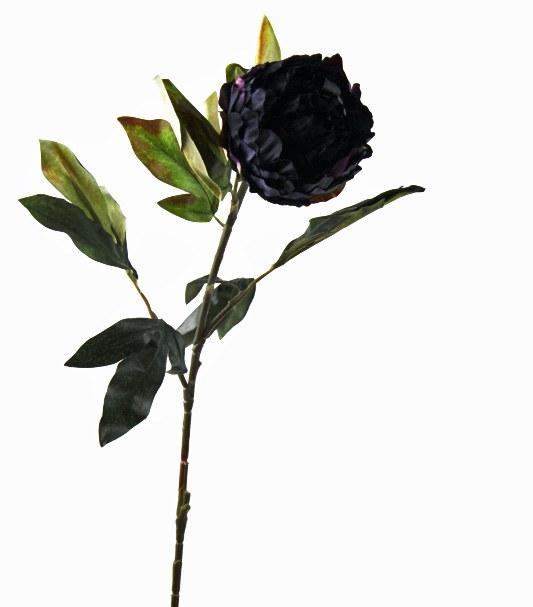 Artificial Poeny Flower Dark Blue Long Stem