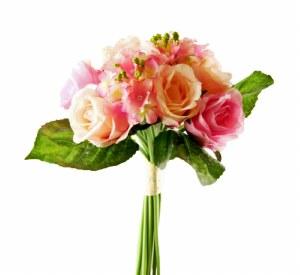 Artificial Rose & Hydrangea Bouquet - Pale Pink 38cm