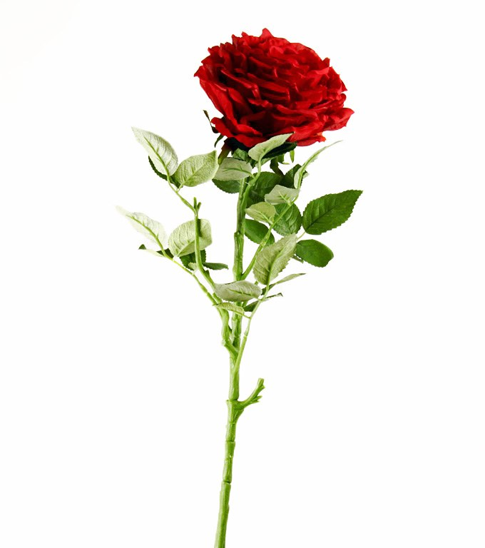 Artificial Rose Single Long Stem - 65cm - Red
