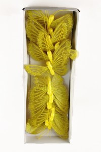 Decorative Mesh Butterflies Yellow x 12