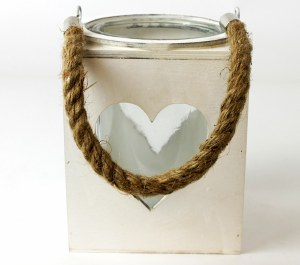 Wooden Heart Lantern With Glass 13cm x 16cm