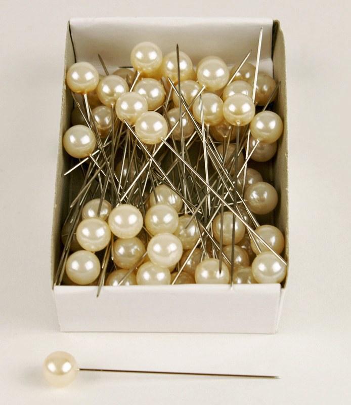 Pearl Florist Pins 10mm x 60mm Cream