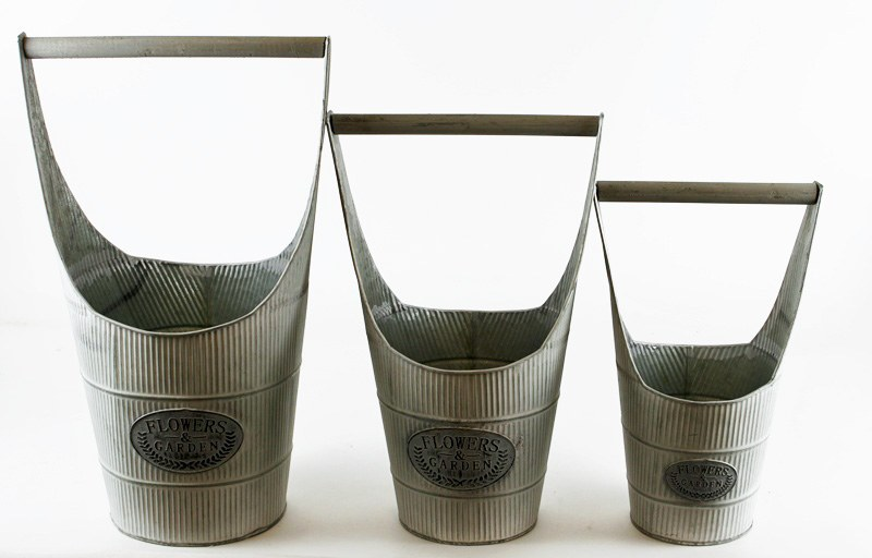 Zinc Planters Set x 3