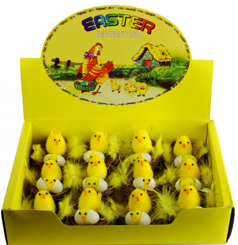 Easter Chick Decorations x 12pcs