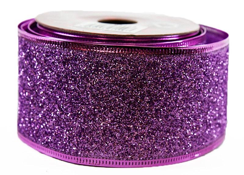 Glitter Ribbon Purple Wired Edge 5cm x 10Y