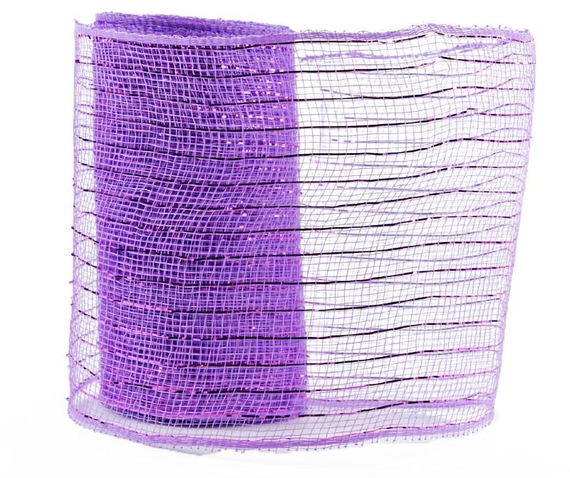 Decor Mesh Fabric Royal Lilac Metallic Thread 15cm x 10Yds