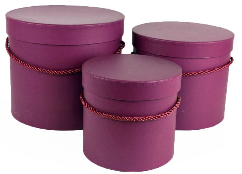 Florist Hat Box x 3 Purple