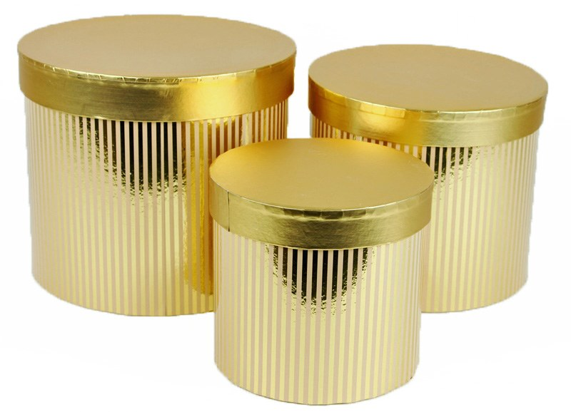 Florist Hat Box x 3 Gold