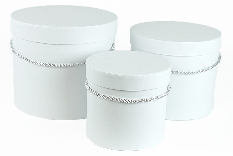 Florist Hat Box x 3 White