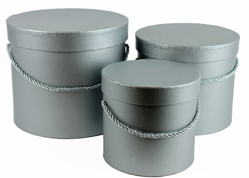 Florist Hat Box x 3 Grey