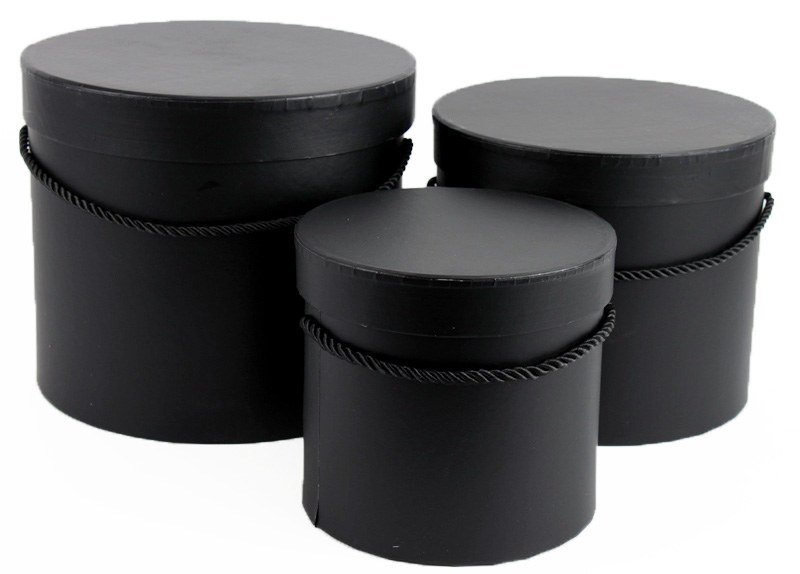 Florist Hat Box x 3 Black