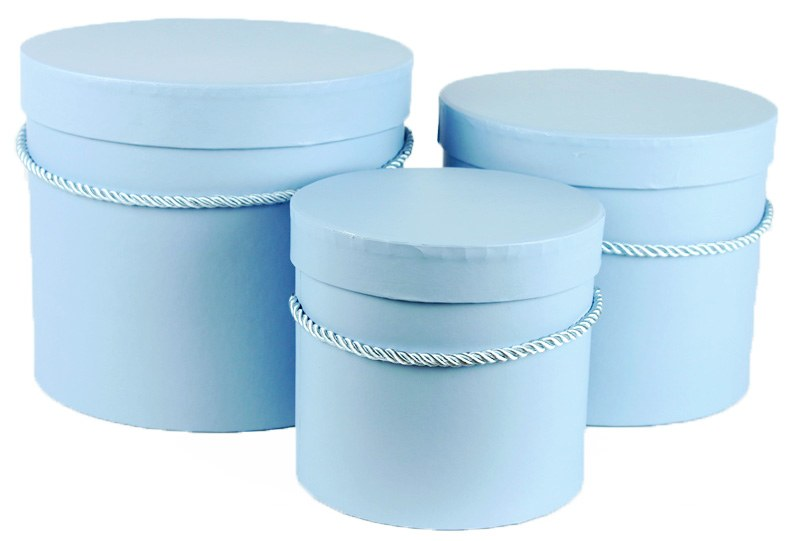 Florist Hat Box x 3 Baby Blue