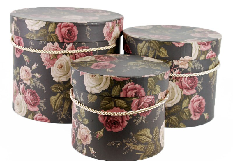 Florist Hat Box X 3 Vintage Rose