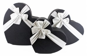 Florist Heart Hat Box x 3 Black