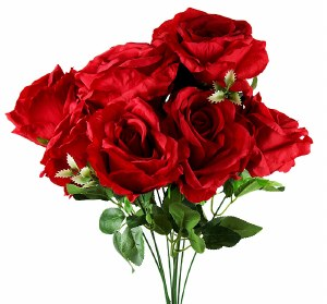 Artificial Rose Bunch Red x 9