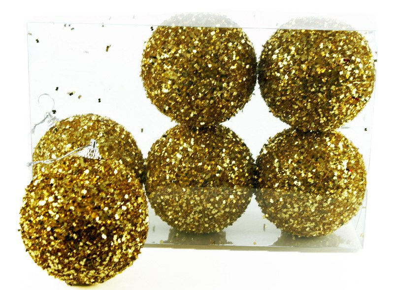 Christmas Baubles 8cm Gold x 6
