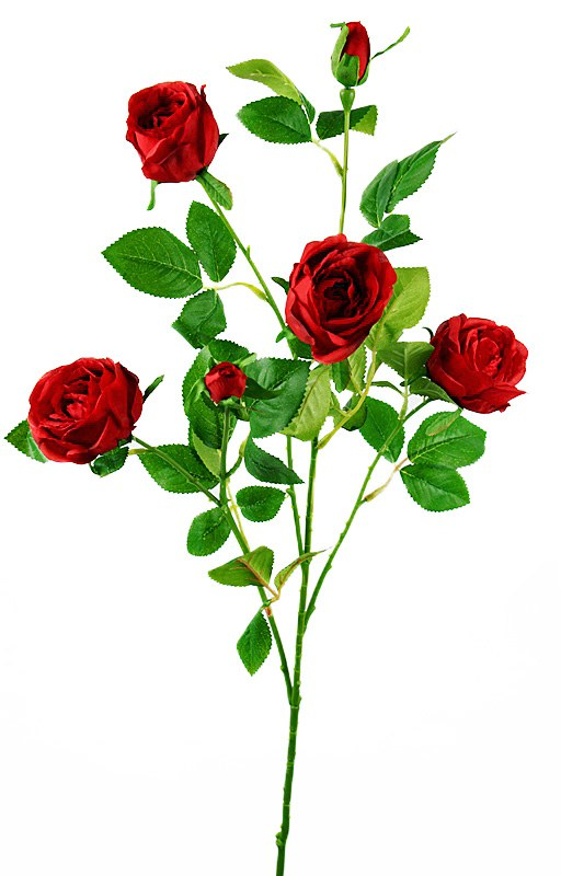 Artificial Red Garden Spray Rose Stem 68cm