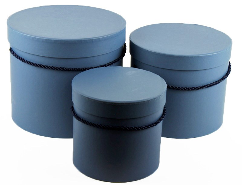 Florist Hat Box x 3 Slate Grey/ Blue