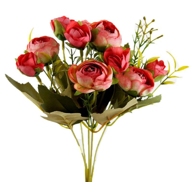 Artificial Flower Ranunculus Bunch x 10 Red
