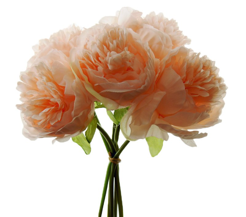 Artificial Peony Rose Bundle Peach 5 Stems