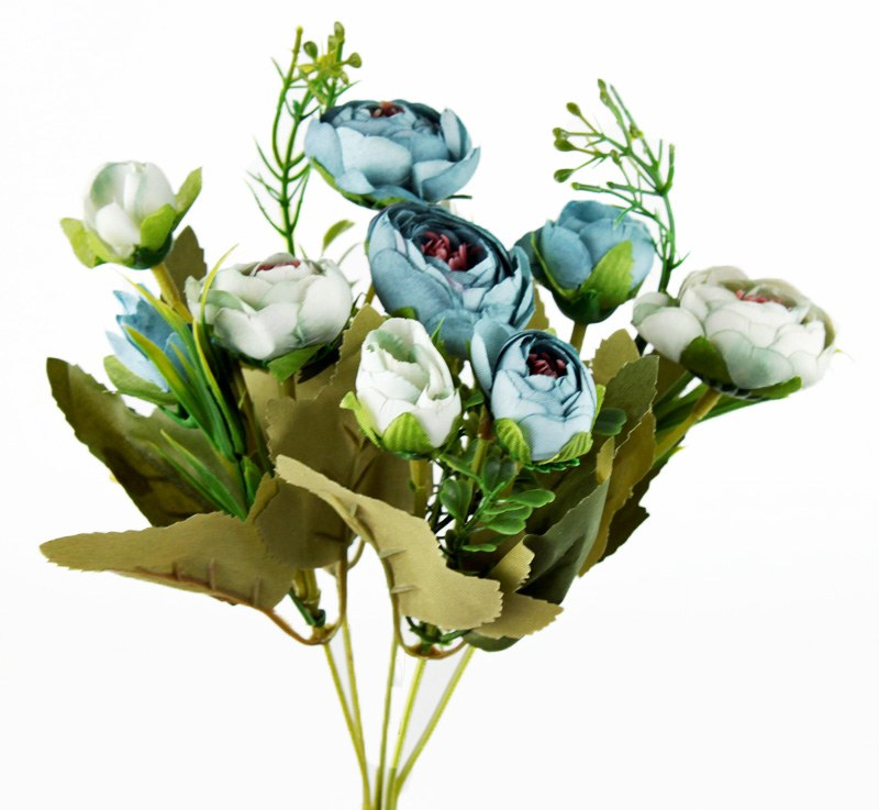 Artificial Flower Ranunculus Bundle Blue x 10