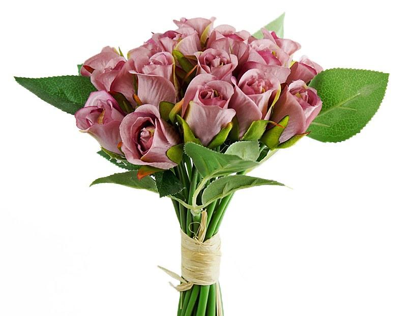Artificial Bud Rose Bunch Blush Lilac x 20 Stems