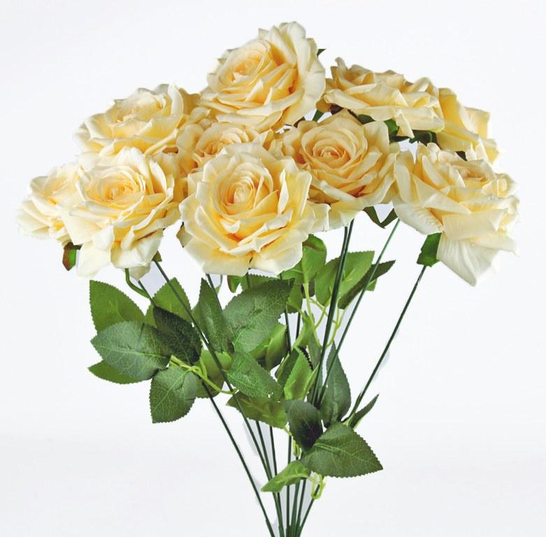 Artificial Rose Bunch x 10 Heads Pale Lemon