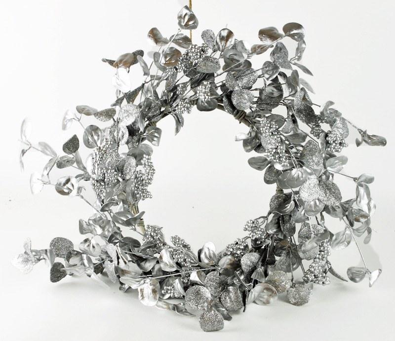 "Glitter Christmas Wreath Silver 24"""