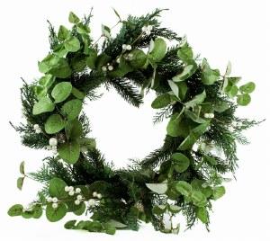 "Christmas Rustic Pearl Wreath 24"""