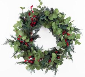 """Christmas Door Wreath Red Berry/ Eucalyptus 28"""""""