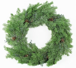 Christmas Pine Cone Door Wreath Green 24""