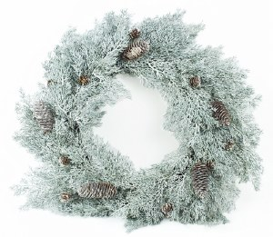 Christmas Pine Cone Door Wreath Silver 24""