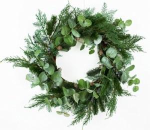 "Christmas Door Wreath Blueberry/Eucalyptus """